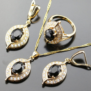 Black Cubic Zirconia White Zircon Jewelry Set For Women Gold color Crystal Wedding Necklace/Earring/pendant/ring Js01-050