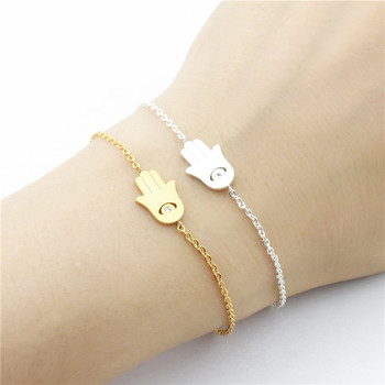 2017 Fashion Silver Colour Hamsa Hand Bracelet men Jewelry Crystal Evil Eye Bracelet for Women pulseira masculina