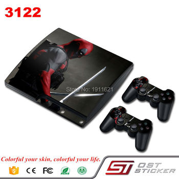 OSTSTICKER Deadpoor PS3 Slim Cilt Sticker Için Sony PlayStation 3 Konsolu ve 2 Kontrolör Skins için