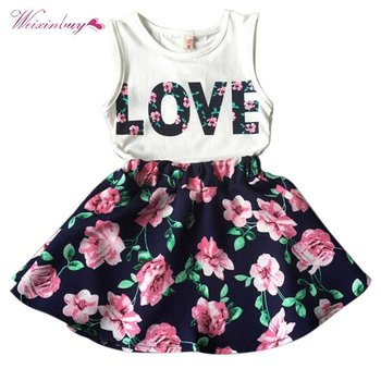 New 2PCS Toddler Kids Baby Girls Outfits T Shirt Tops + Floral Mini Skirt Clothes Set L07