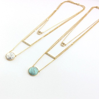 New Fashion Gold Color 3 Layer white Green Round Stone Necklace For Women Multilayer Crystal Bar Neckalce 8645